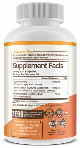 Turmeric Curcumin with Bioperine 2000mg. Highest Potency Available. Premium Pain Relief & Joint Support with 95% Standardized Curcuminoids. Non-GMO, Gluten Free Turmeric Capsules with Black Pepper. 120 Capsules