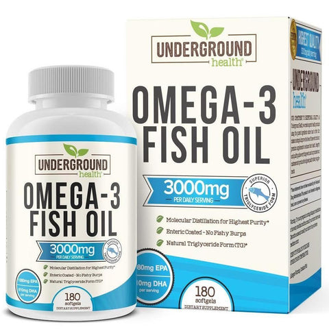 Omega 3 Fish Oil 3000mg. Superior Triglyceride Form (TG). 100% Wild Caught Fish. 1080mg EPA & 810mg DHA Per Serving. Enteric Coated (No Fishy Burps). 180 Softgels