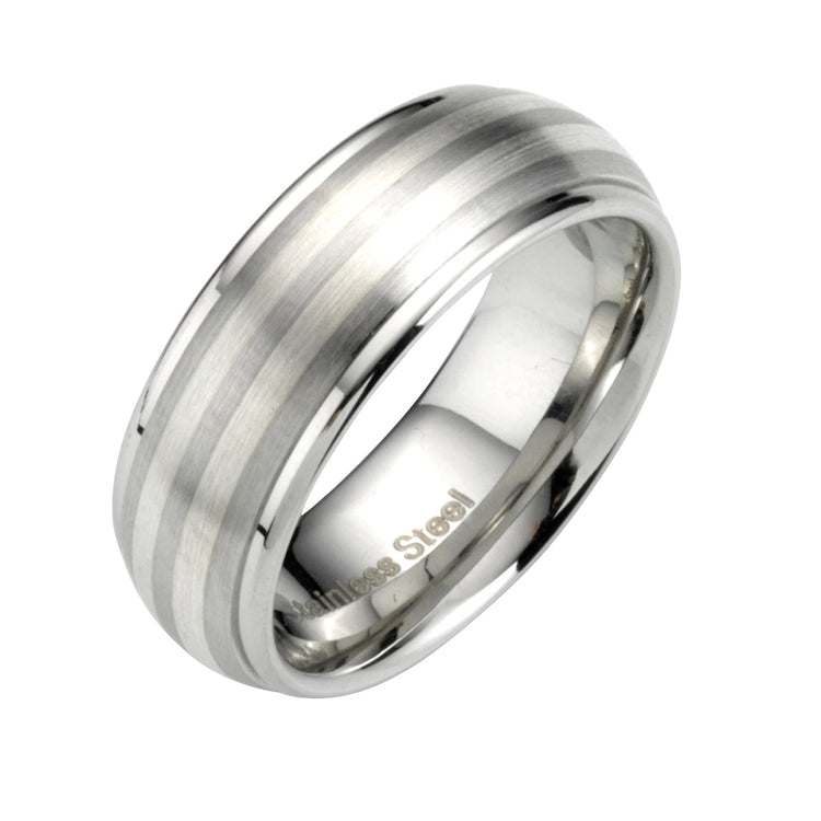 Brushed Silver-toned Inlay Ring