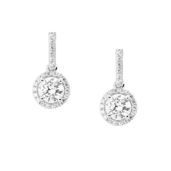 Drop Round Halo Earrings
