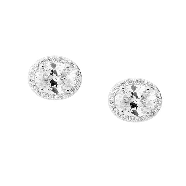 Oval Halo Earrings
