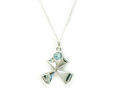 Channel Bow Blue Topaz Pendant