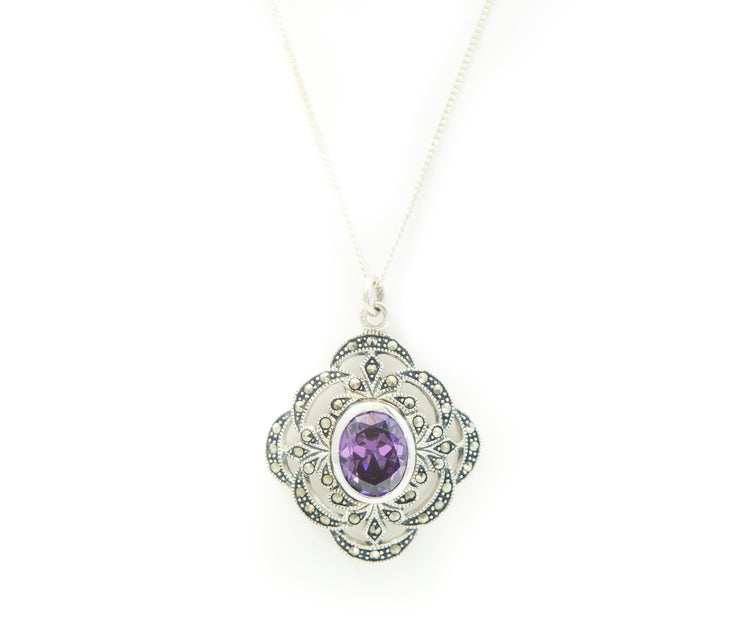 Marcasite & Purple Necklace