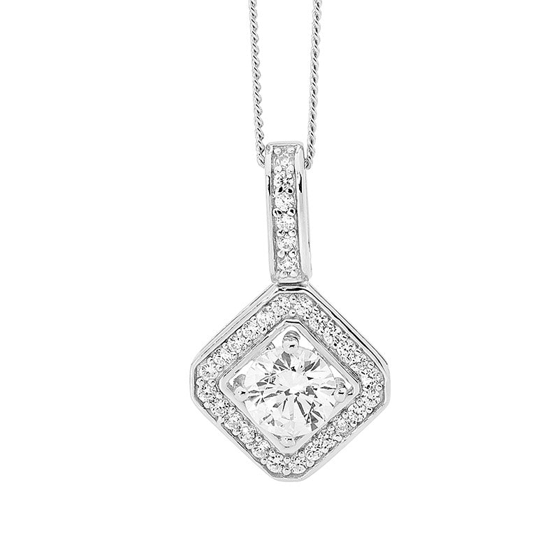 Halo Diamond-shape Pendant