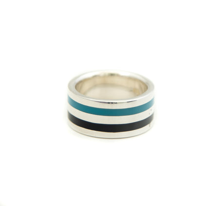 Blue & Black Striped Ring