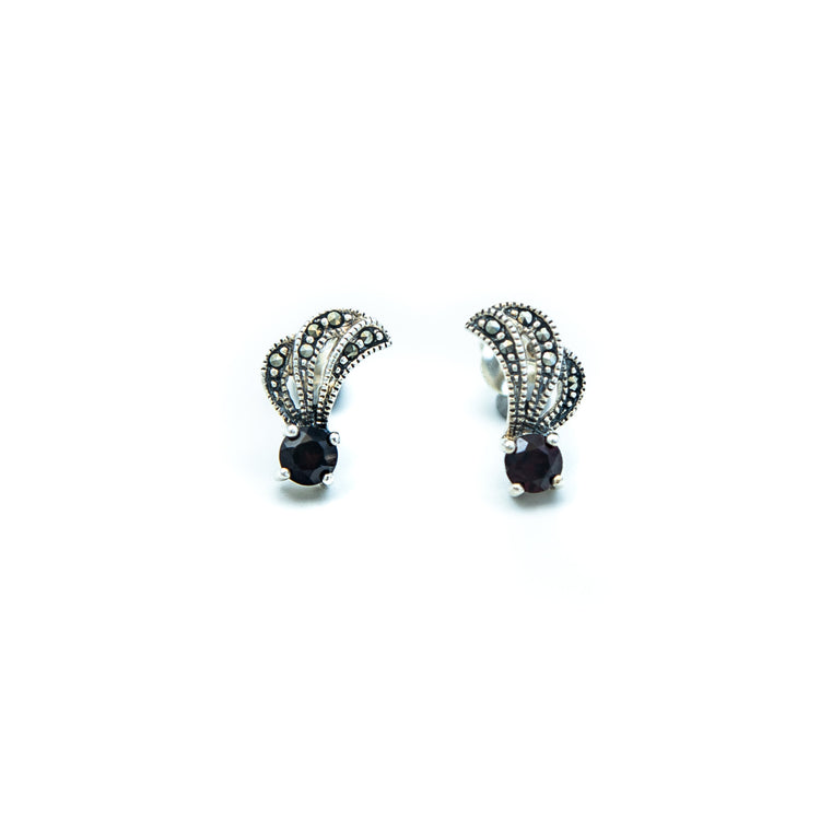 Garnet & Marcasite Earrings