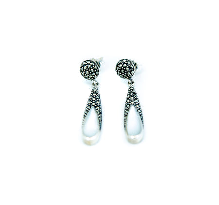 Marcasite and Silver Drop Earrings
