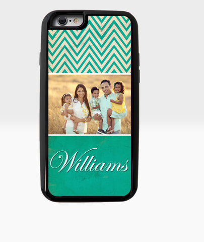 Teal and white chevron case