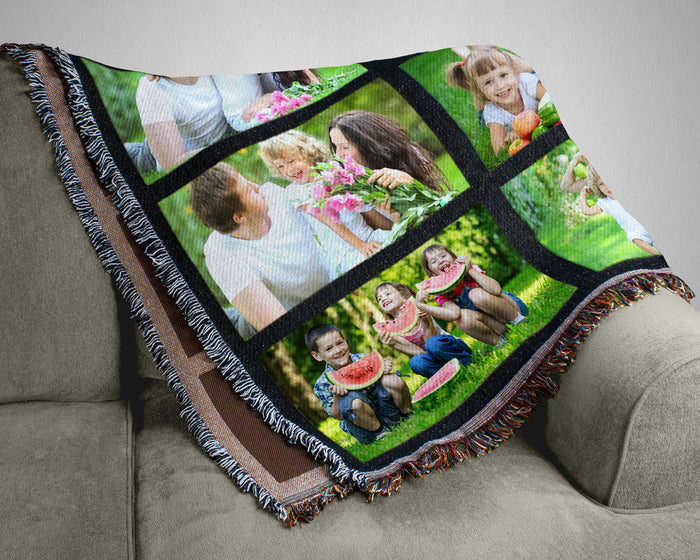Nine Panel Photo Throw Blanket