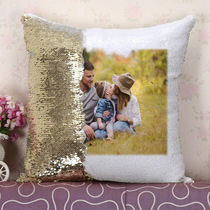 Family Photo Sequins Pillow Cover