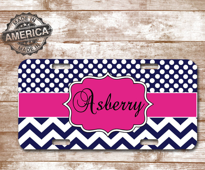 Chevron Custom License Plate - Pink Chevron - Pink License Place - Dxdecor