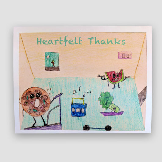 Say It With Gratitude -1 Pack of 8 Cards: Fitness Heartfelt Thanks Design
