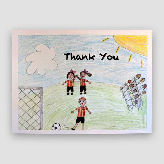 Say It With Gratitude -1 Pack of 8 Cards: Soccer Thank You Design