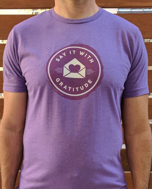 Say it With Gratitude Purple on Purple Short Sleeve Tee