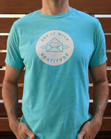 Say it With Gratitude White on Teal Short Sleeve Tee