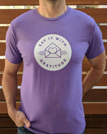 Say it With Gratitude White on Purple Short Sleeve Tee