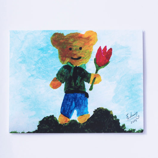 Say It With Gratitude - 1 Pack of 8 Cards: Bear With Flower
