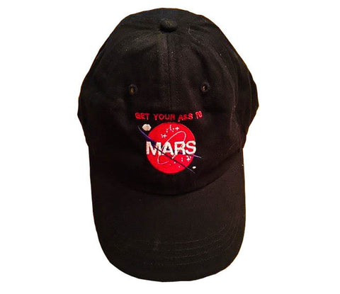 GET YOUR ASS TO MARS BLACK BASEBALL CAP