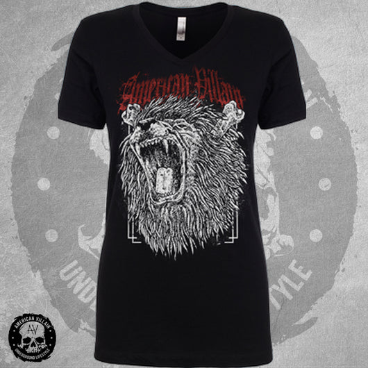 Womens Fierce Lion Vee Neck