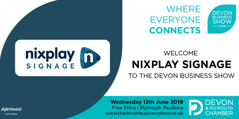 Nixplay Signage is exhibiting at the Devon Business Show on Wednesday 12th June at Plymouth Pavilions.