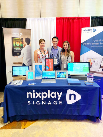 (from left): Sophia Avery, Nixplay Signage Head of Global Sales; Mark Palfreeman, CEO; Caitlin Wong, Senior Manager - Global Strategic Partnerships