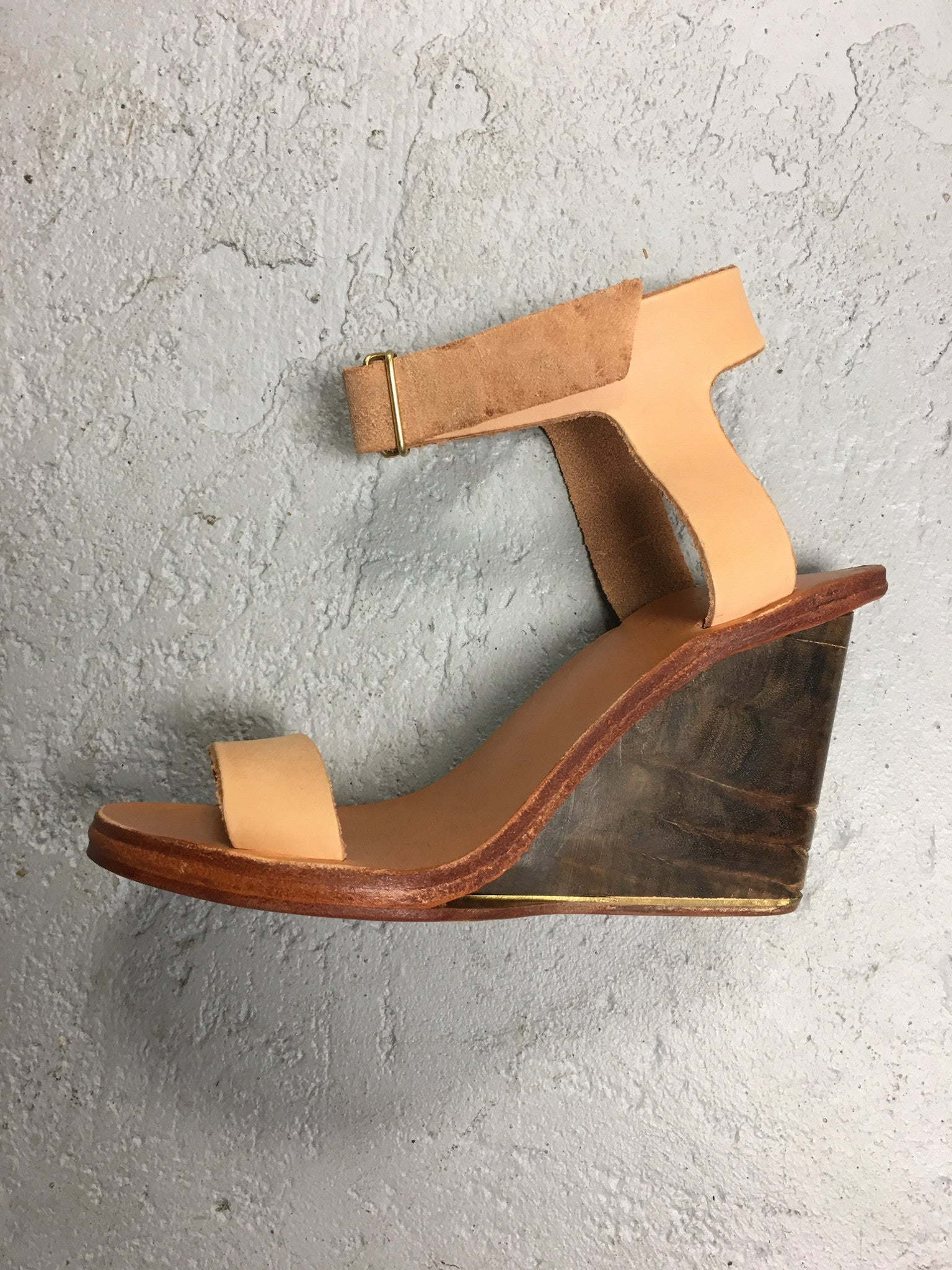Wedge Heel Leather and Wood Handmade Shoes