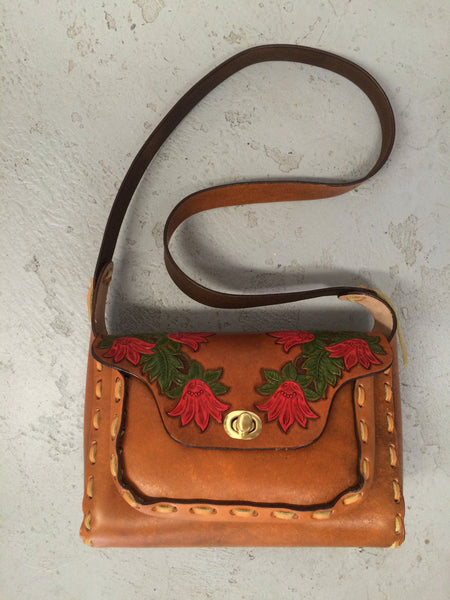 Leather Purse - Hand Painted Red Flowers