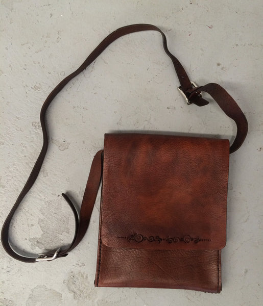 Leather Purse - Soft Front Flap with Burnished Squiggles