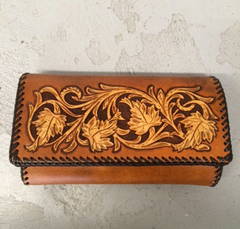 Hand Tooled Leather Clutch Purse- Leaf Design