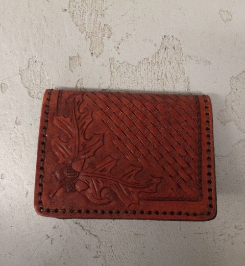 Hand Tooled Leather Wallet - Woven Pattern with Leaf Corner Design