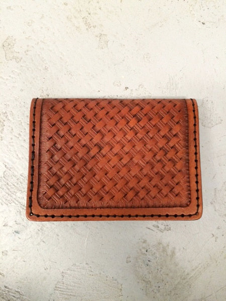 Hand Tooled Leather Wallet - Woven Design