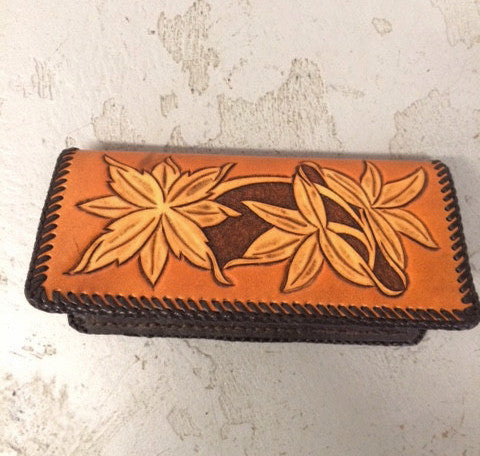 Hand Tooled Leather Wallet - Triple Flower Design
