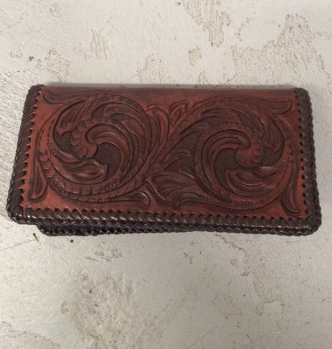 Hand Tooled and Tanned Leather Wallet - Flourish Design