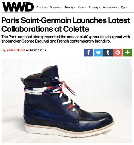 OFF THE PITCH: Colette on Wednesday celebrated its ongoing relationship with the Paris Saint-Germain soccer club with the launch of a limited-edition pair of boots and a sweatshirt aimed at female supporters.