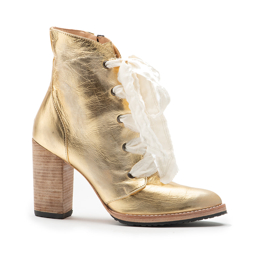 Gold Distressed Leather Dana Boot
