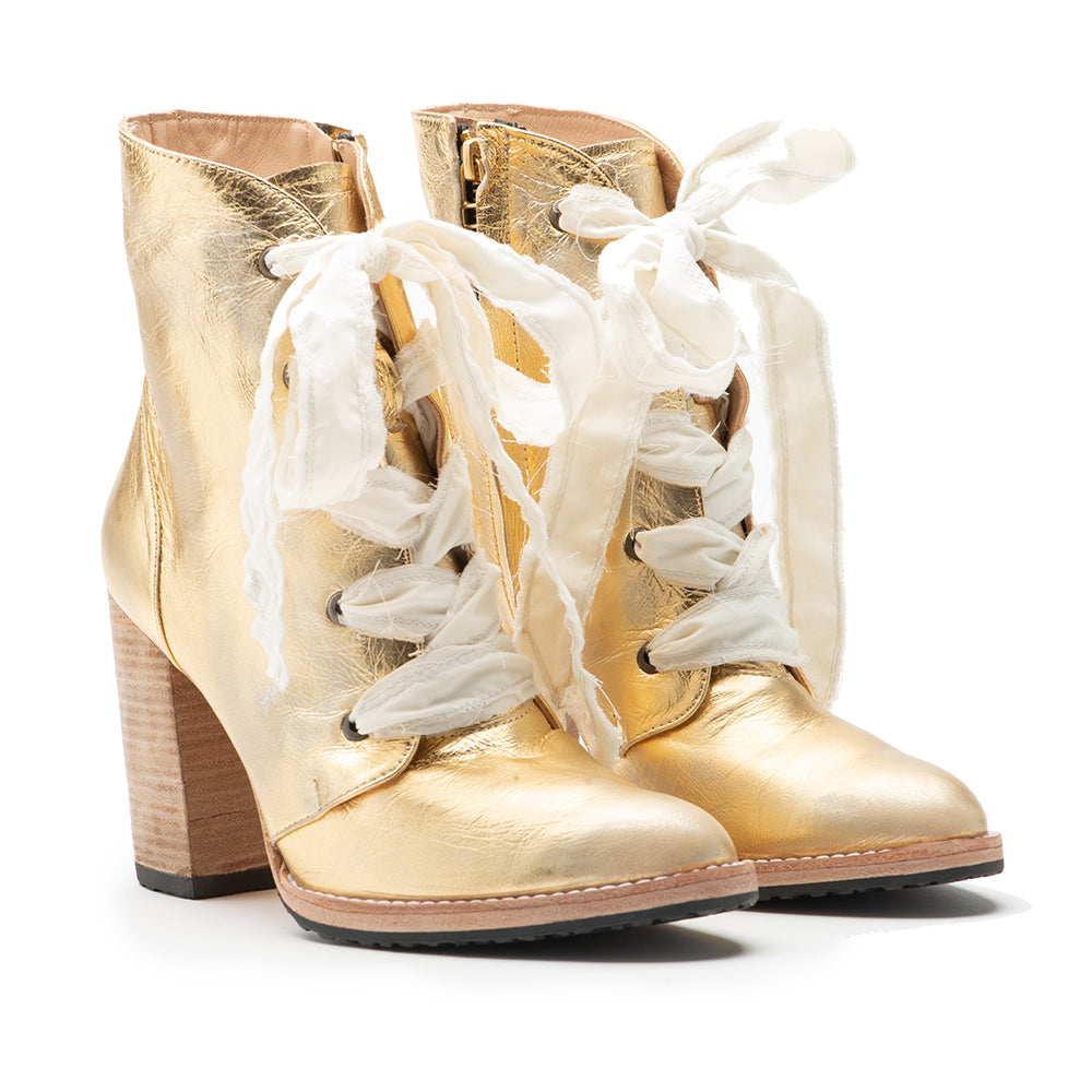 Women's Gold Distressed Leather Dana Boot