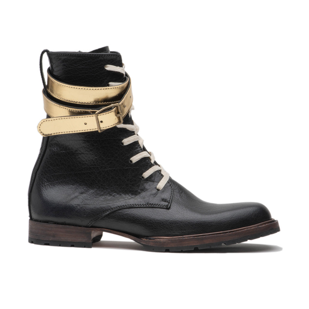 Black Leather Jolene With Gold Strap