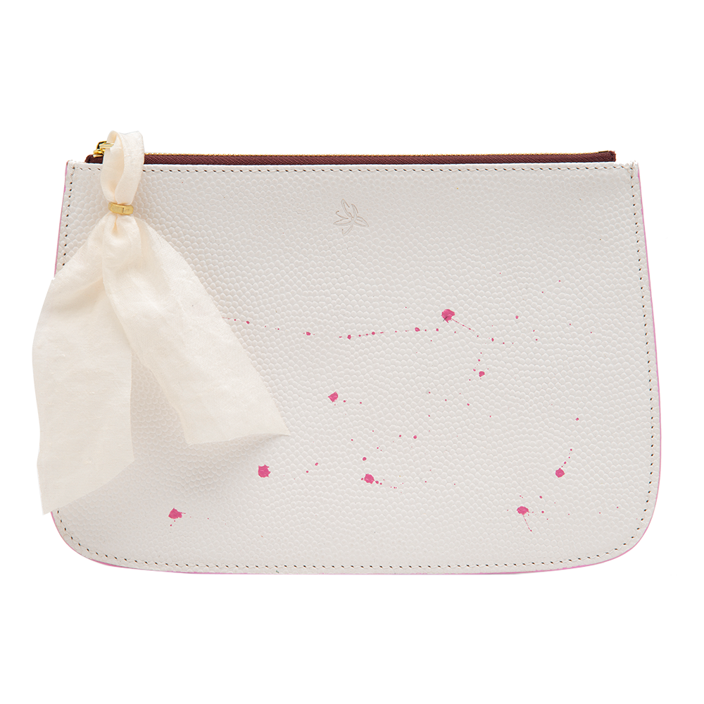 White with Pink Accents Clutch