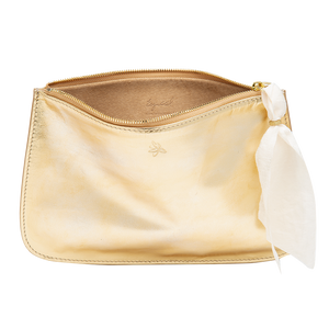 Gold Leather Clutch