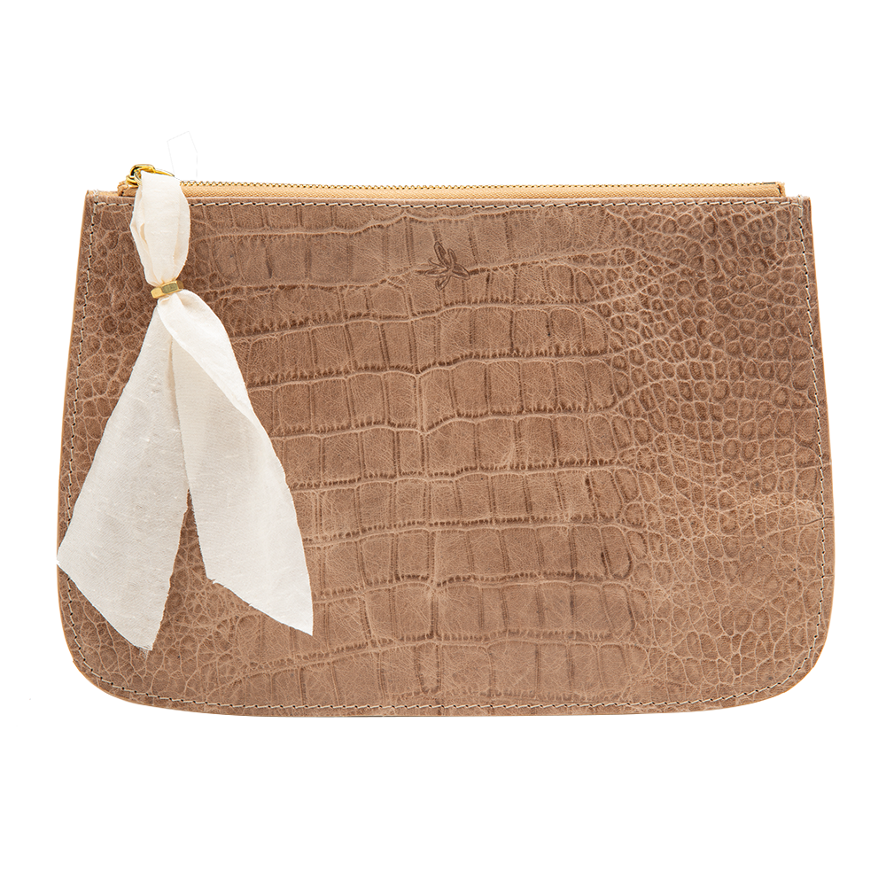 Tan Faux Croc Clutch