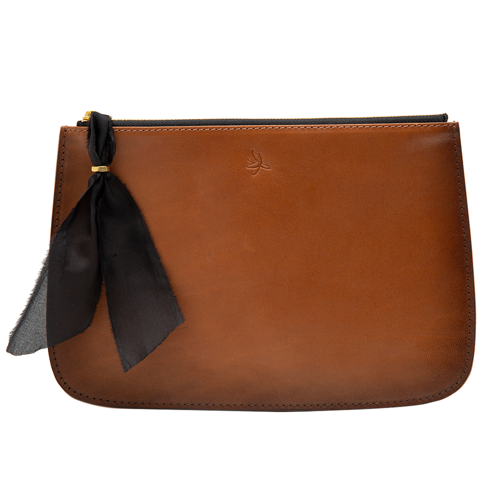 Brown Hand Burnished Clutch Bag