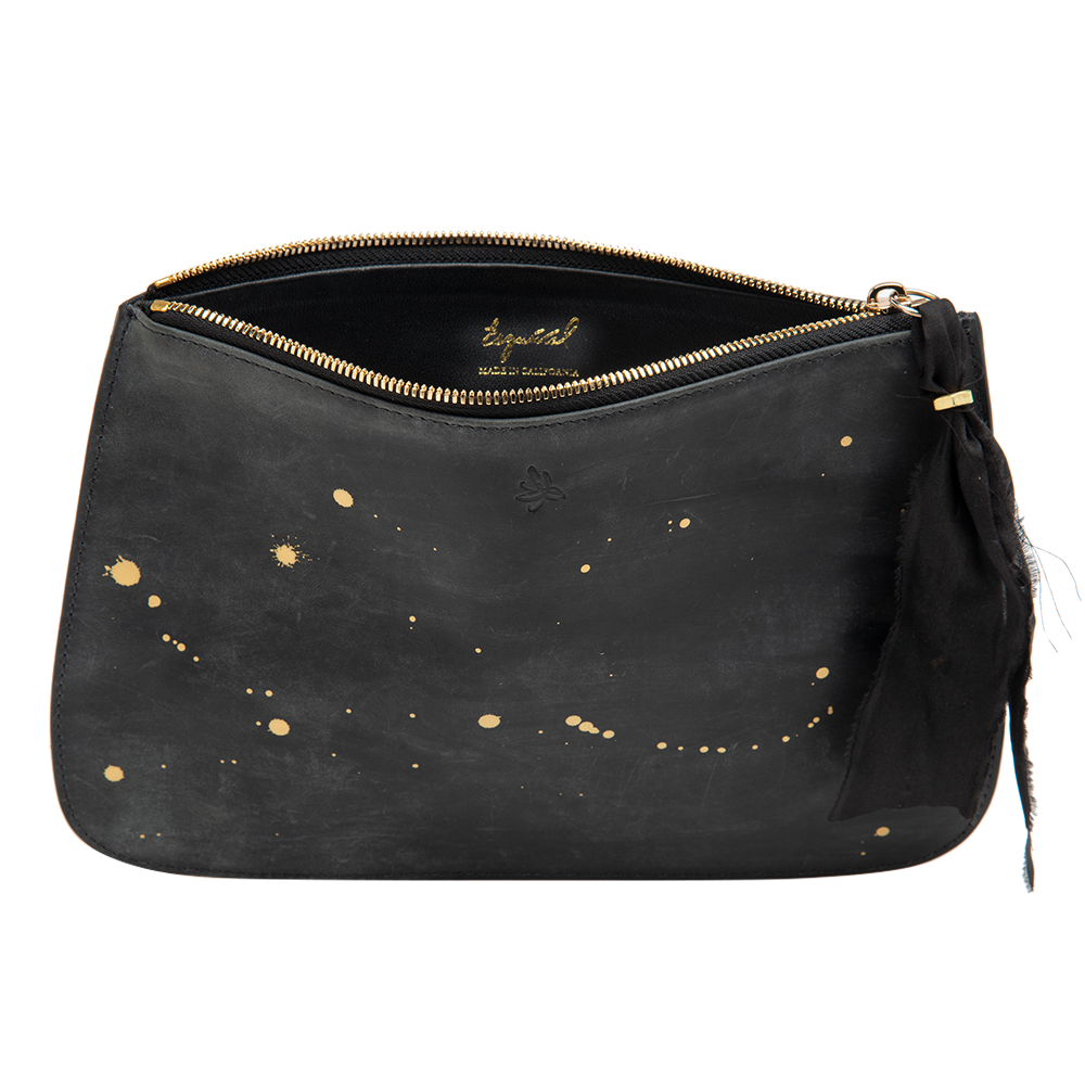Black with Gold Accents Clutch Bag