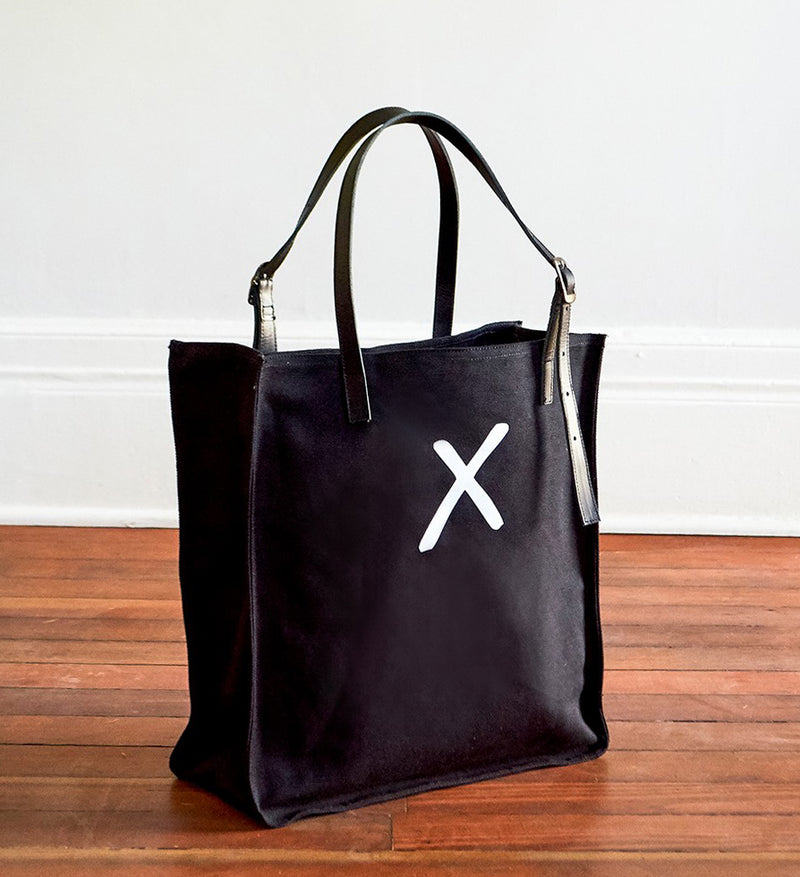 Black Canvas Tote - White X
