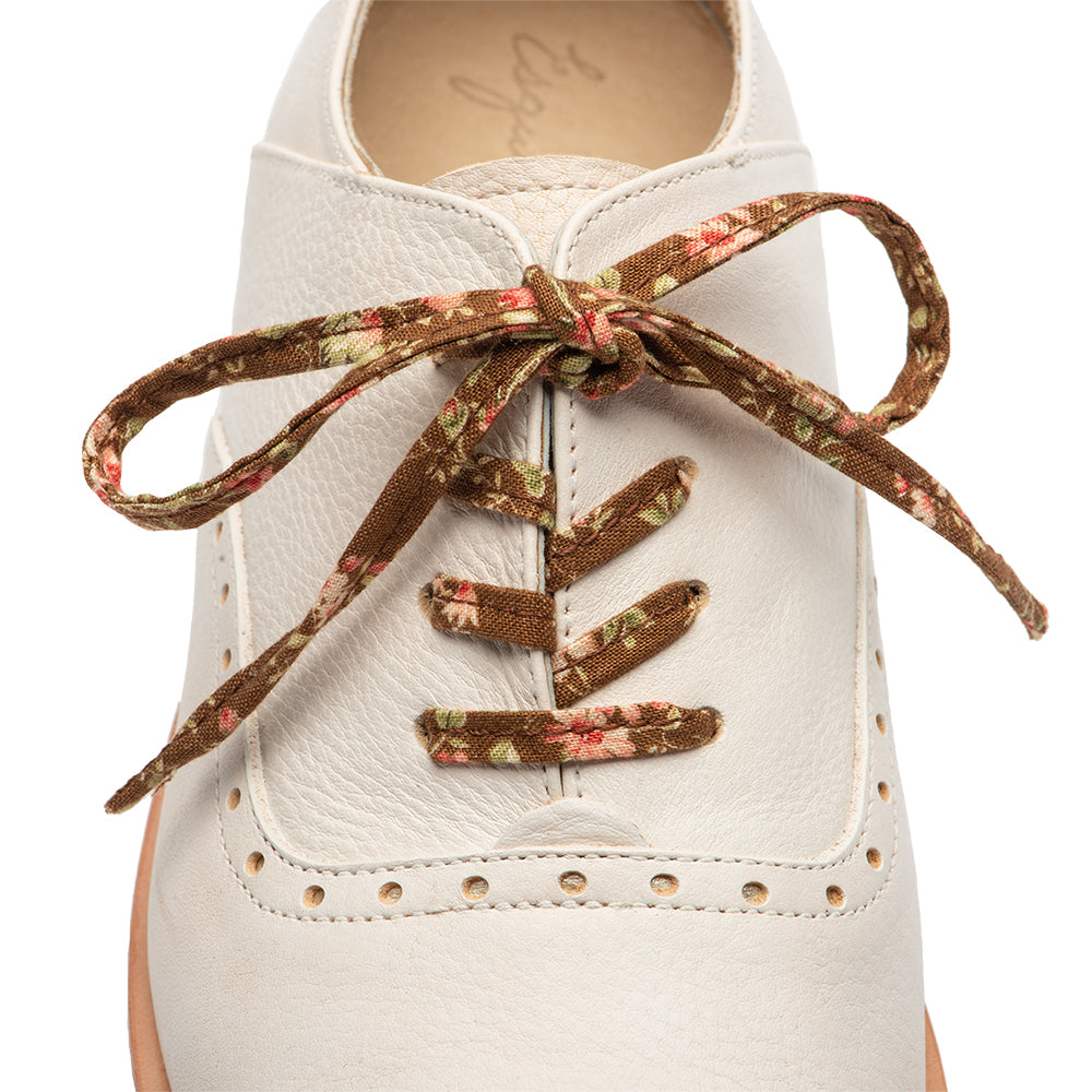 Brown Floral Shoe Laces