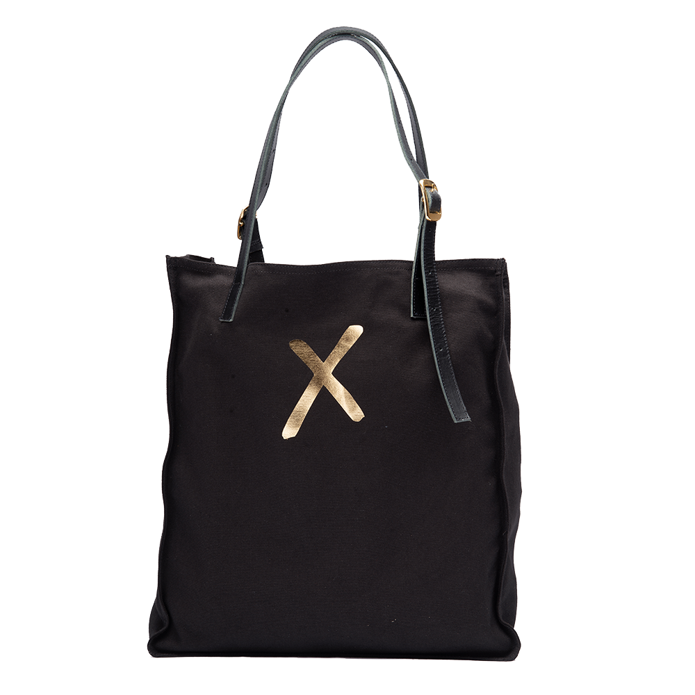 Black Canvas Tote - Gold X