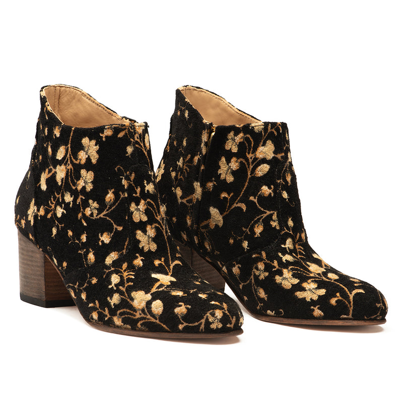Black & Gold Floral Brocade Jill
