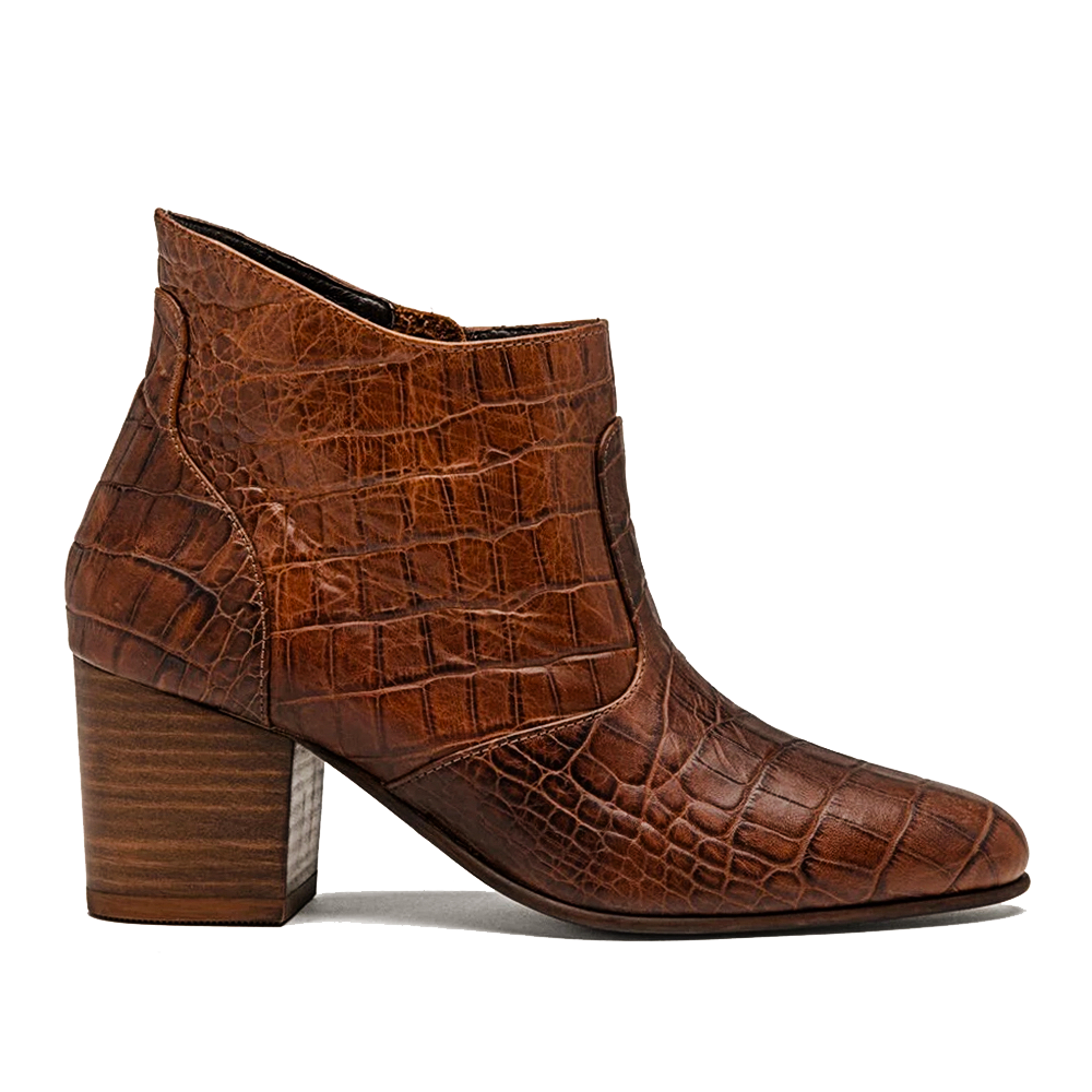 Women's Brown Faux Croc Jill Boot