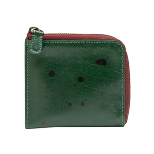 Green with Black Accents Zip Wallet