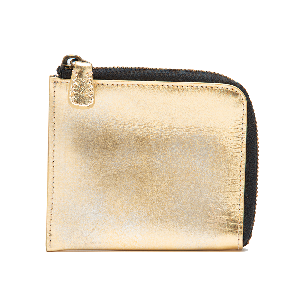 Gold Hand Distressed Zip Wallet