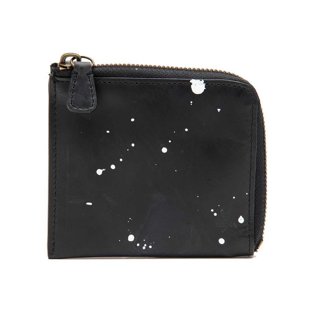 Black with White Accents Zip Wallet